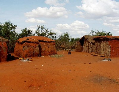 Typická osada Masajů