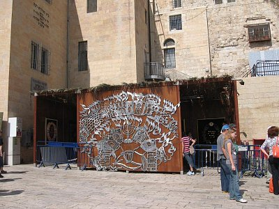 Jeruzalém-Sukkot-svátek stánků - Nedaleko Zdi nářků (nahrál: Dorothea)